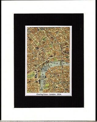 """Vintage Map ~ CHARING CROSS in LONDON ~ Double Mounted ~ 1914 10"""" x 8"""""""
