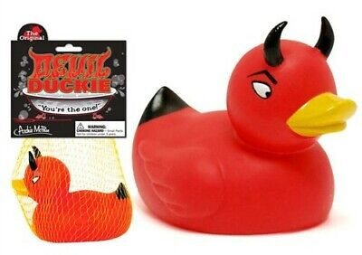 The Original Red Devil Rubber Duckie Duck Bath Tub Bathroom Toy by Accoutrements