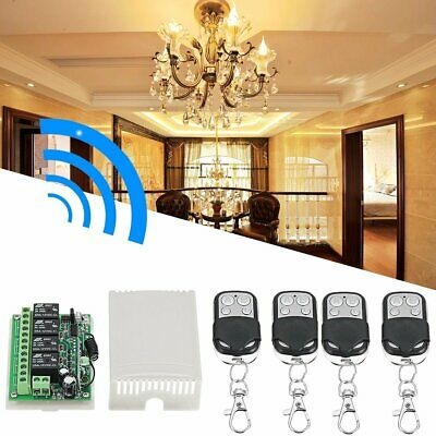 12V 4CH Channel 433Mhz Wireless Remote Control Switch With 4 Transmitter KM-DE