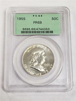 1955 Silver Proof Franklin Half Dollar PR68 PCGS United States Mint 50c Coin OGH