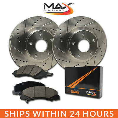 2014 Ford F150 w/6 Mounting Holes Slotted Drilled Rotor w/Ceramic Pads F