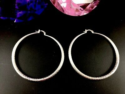 """Mega Hollow 925 Sterling Silver Feathered Finish 2.75"""" Hoop Pierced Earrings"""