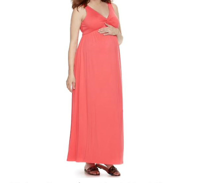6c10c618b4 XS Maternity Dress NEW A Glow Coral Knot Front Full Length Maxi X SMALL 0 2