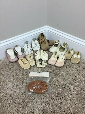 Antique Lot Assorted Vintage Leather Baby Shoes Baby Moccasins #61