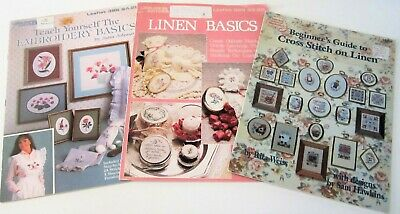 Lot of 3 Vintage Counted X Stitch & Embroidery Leaflets for STITCHING ON LINEN