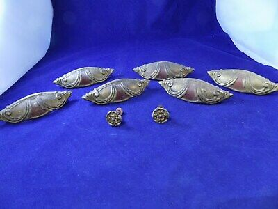 Vintage drawer pulls handles knobs set of 6 antique artdeco Super RARE !!!