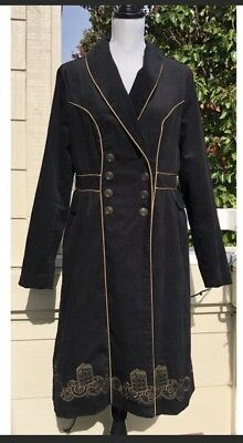 9ad48049c3c07 NWOT Doctor Who Hot Topic Embroidered TARDIS Corduroy Trench Coat Steampunk  XL