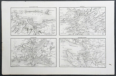 1835 M A Thiers Antique Map French Naval Bases Cherbourg Brest Lorient Rochefort