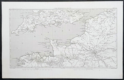 1835 M A Thiers Antique Map La manche English Channel during French Revolution
