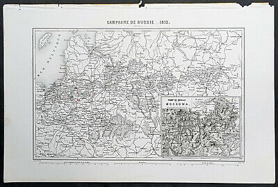 1835 M A Thiers Antique Military Map of Napoleons Russia Campaign 1812, Moscow