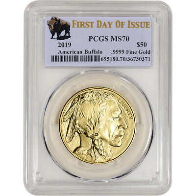 2019 American Gold Buffalo 1 oz $50 - PCGS MS70 First Day of Issue Buffalo Label