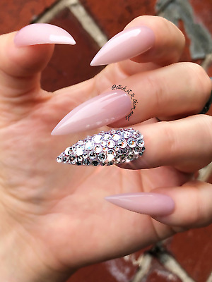 Made to order Luxury nude press on nails made with Swarovski crystals