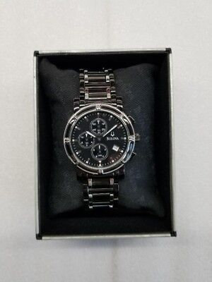 Bulova Chronograph Date Black Dial Two-Tone St.steel Men's Watch 98B101 Display