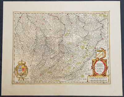 1619 Jan Jansson Antique Map of the Champagne province, NE France - Troyes Reims