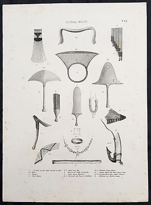 1836 Dumont D Urville & Brodtmann Antique Print Weapons, Tools etc Tonga Islands