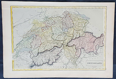 1840 Sydney Hall Large Antique Map of Switzerland by Cantons