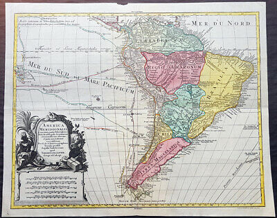 1772 Tobias Lotter Large Antique Map of South America, Drake Magellan, Le Maire