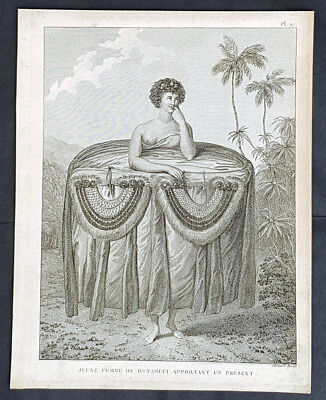 1785 Cap. Cook Antique Print of Tahitian Girl w/ Presents Visit in 1777 (31835)