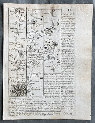 1720 Emmanuel Bowen Antique British Road Map - London to Colchester & Harwich
