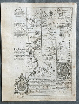 1720 Emmanuel Bowen Antique British Road Map - Tamesford Bedford to Peterborough