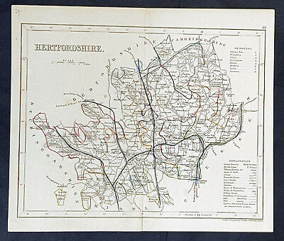 1846 Thomas Dugdale & Joshua Archer Antique Map English County of Hertfordshire