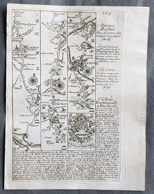 1720 Emmanuel Bowen Antique British Road Map - Dartmouth to Exeter to Minehead