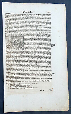 1628 Sebastian Munster Antique Engraving to Text Ottoman–Venetian War Sea Battle