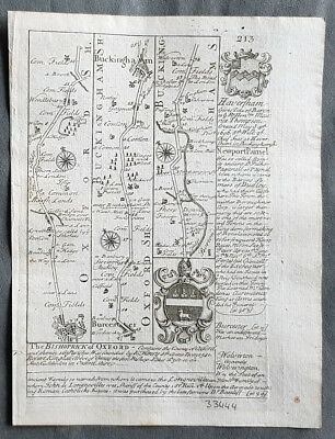 1720 Emmanuel Bowen Antique British Road Map, Buckingham to Bedford to Cambridge