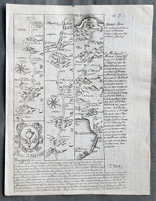 1720 Emmanuel Bowen Antique British Road Map - Penzance & Lands End in Cornwall