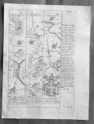 1720 Emmanuel Bowen Antique British Road Map - Whitby to Durham to Tinmouth