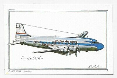 DOUGLAS DC4 Airplane Art ROY ANDERSEN Unposted Post Card #3143