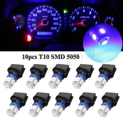 10x T10 Blue SMD 5050 194 LED Bulb Instrument Gauge Cluster Dash Light W/