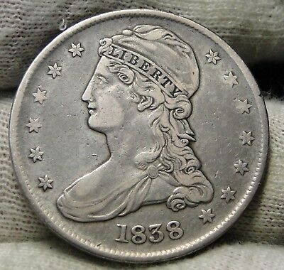 1838 Capped Bust Half Dollar 50 Cents -  Nice Coin Free Shipping (7840)