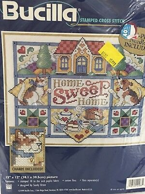 Vintage Bucilla Cross Stitch Kit Home Sweet Home 42468 Sampler Charm Included