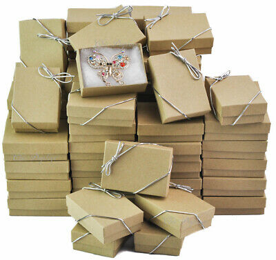 Kraft Cotton Filled Jewelry Gift Boxes ~Lot of 100 Boxes +FREE Bows 3 1/4 x2 1/4