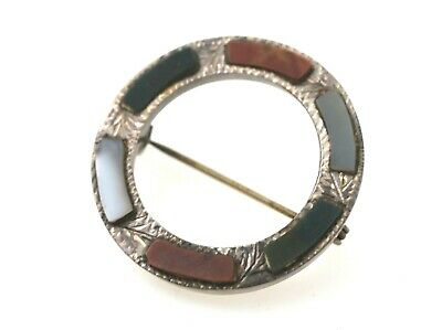 Circular Antique Sterling Silver Scottish Pin W/ Colored Agate Stones EXCELLENT