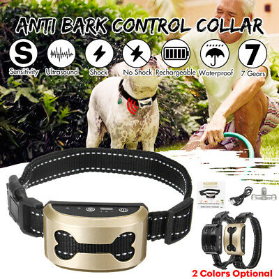 Anti Bark No Barking Shock Control Training Collar Dog Pet Ultrasonic Waterproof