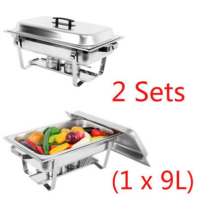 Foldable Stainless Chafer Dish Chafing Buffet Bain Marie Food Warmer 9L 4.5L x 2