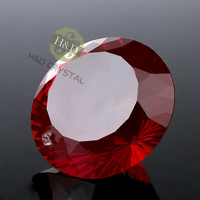 Red Crystal Paperweights Cut Glass Large Giant Diamond Jewel Wedding Gifts 80mm