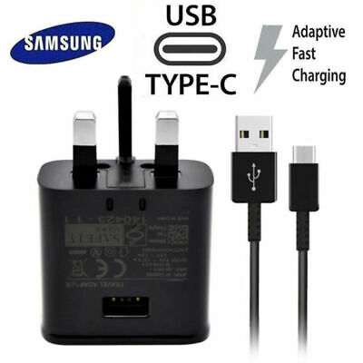 Fast Charger Plug and USB CCable Type For Samsung Galaxy S8 S9+ Genuine UK