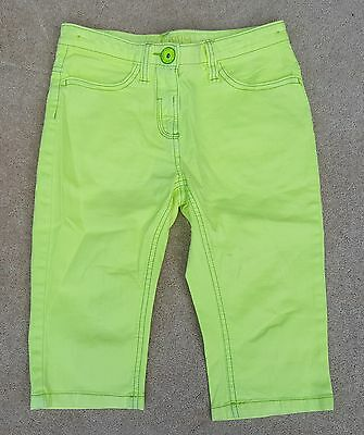 NEXT Girls Fluo Yellow Jeans Cargo 3/4 Trousers Pants 98% Cotton 10 Years