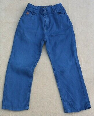 NEXT Boys Blue Linen Jeans Trousers Pants Adjustable Waist 100% Linen 5 Years