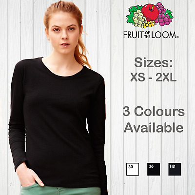 Fruit Of The Loom Ladies Long Sleeved T-Shirt Womens Plain Top Tee Cotton Casual