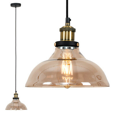 Black & Gold Ceiling Light Pendant Amber Tinted Glass Tapered Shade LED Bulb