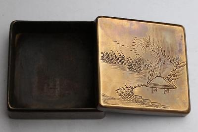 Collection Chinese carved landscape painting square old copper ink box