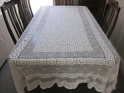 Large Cream Rectangular Hand Worked Crochet Lace Tablecloth
