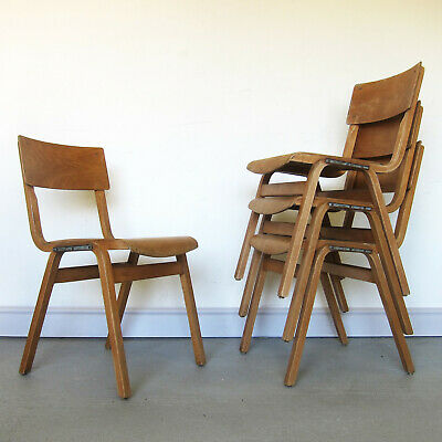 Restored Vintage Plywood School stacking chair Seat Dining Desk Green Dot Old