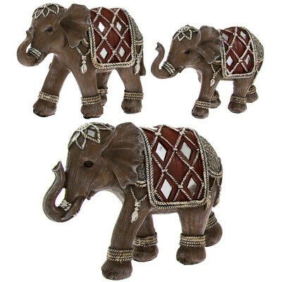 Elephant Family Group inc. Mum Dad & Baby Elephants Ornament Sculpture New Boxed