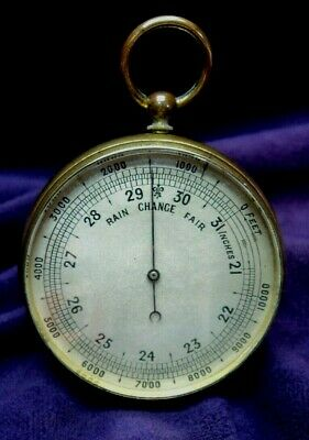 "Working~Early 20th Century English~2"" Gilded Brass Pocket Watch Style Barometer"