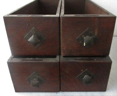 OAK TREADLE BASE SEWING MACHINE DRAWERS w/ MISSION ARTS + CRAFTS DRAWER PULLS